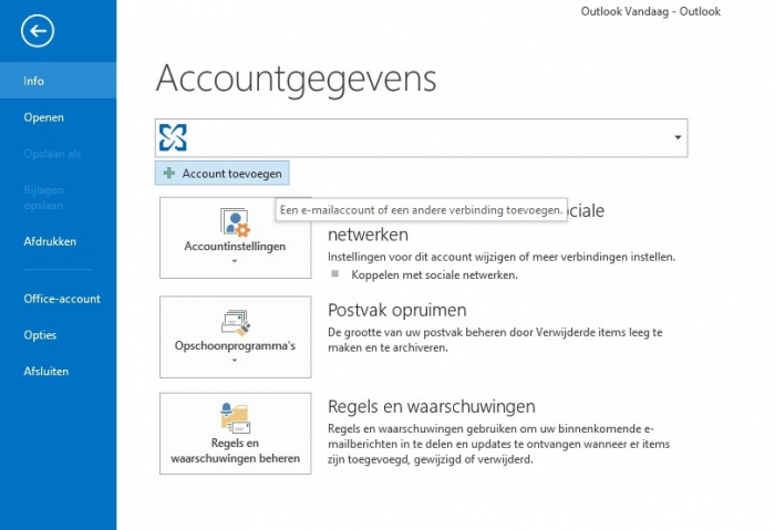 Outlook 2013 Stap 2 - Accountgegevens -> Account toevoegen of Add account