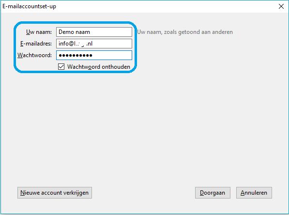 Thunderbird - stap 3: E-mail instellen
