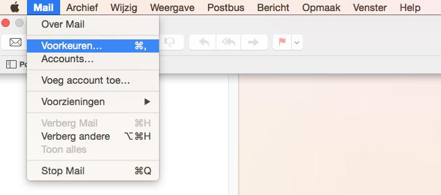 """Apple/MacOS- stap 3.1: E-mail instellen """"Voorkeuren"""""""