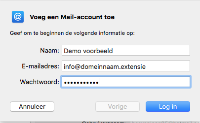 Apple/MacOS- stap 3.3: Voeg een Mail-account toe