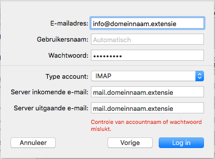 Apple/MacOS- stap 3.4: E-mailsettings (POP of IMAP)