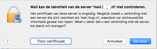 Apple/MacOS- stap 3.5: MAIL -> Identiteit controleren