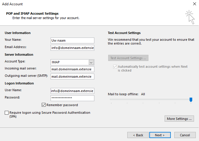 Outlook 2013 Stap 5 - POP and IMAP Account Settings / POP en IMAP account instellingen