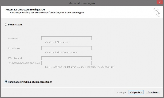 Outlook 2013 Stap 3 - Account toevoegen of Add account (setup)