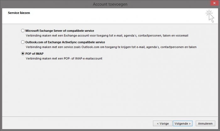 Outlook 2013 Stap 4 - POP of IMAP account