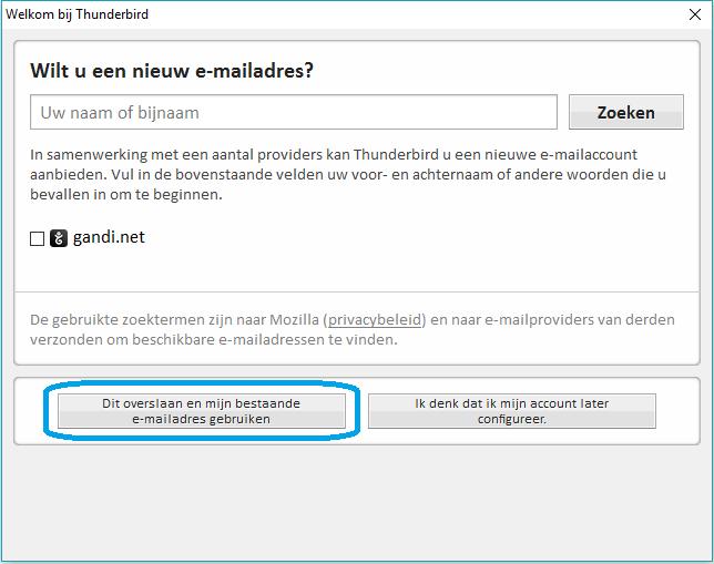 Thunderbird - stap 2: E-mail instellen