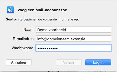 Apple/MacOS- stap 3.3: Voeg een Mail-account toe