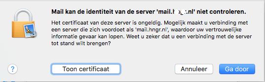 Apple/MacOS- stap 3.5: MAIL -> Identiteit controleren