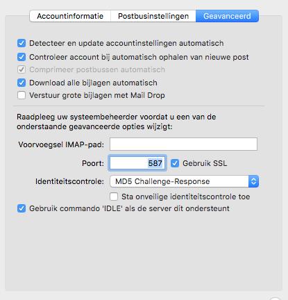 Apple/MacOS- stap 3.7: Geavanceerde emailinstellingen
