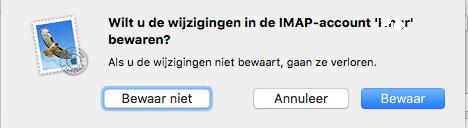 Apple/MacOS- stap 3.8: Melding -> Mail account bewaren