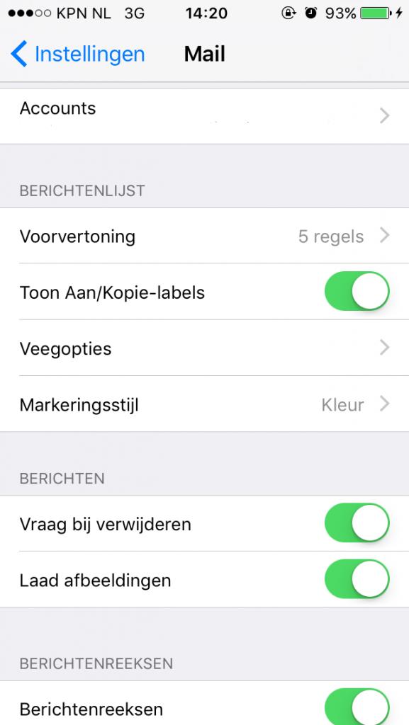 iPhone - Nieuwe account toevoegen